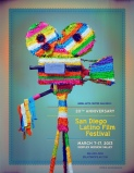 The vintage film movie camera pinata designed and photographed for The 20th Annual San Diego Latino Film Festival 2013.
