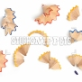 Set of shavings from yellow, red and blue pencils, isolated on white background